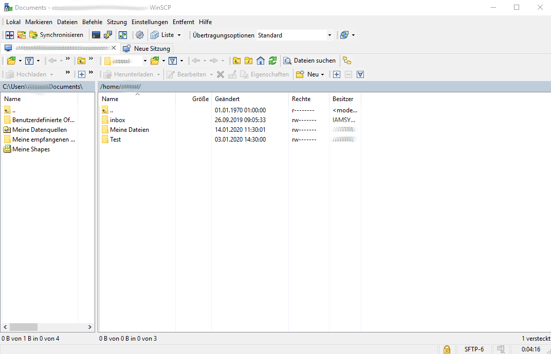 Arbeiten mit SFTP Business Filemanager