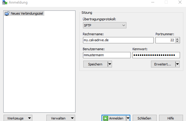 Anmeldung Business Filemanager SFTP