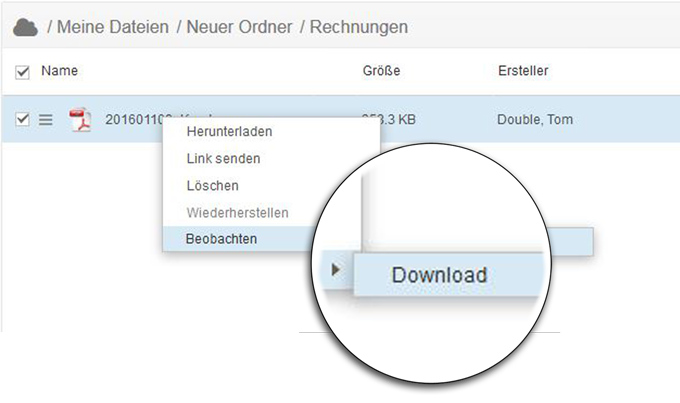 Bei einem Dateidownload erhalten Sie mit dem doubleSlash Business Filemanager Watch Plugin eine Benachrichtigung.