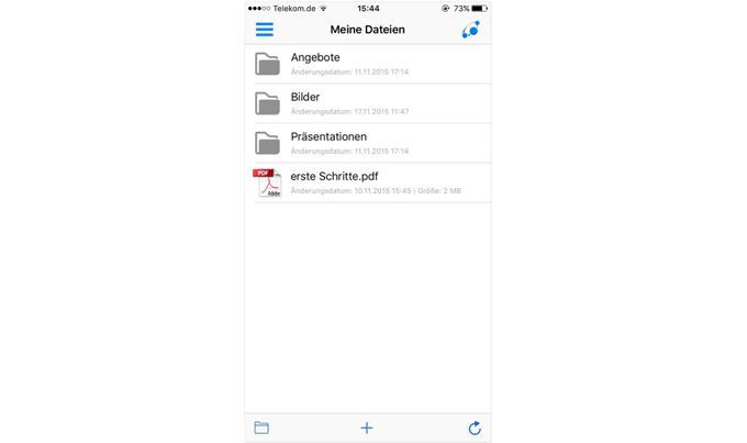 doubleSlash Business Filemanager: Benutzeroberfläche iOS