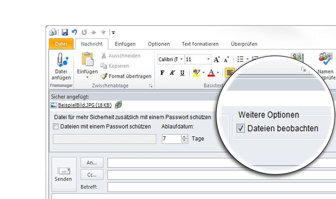 Business Filemanager: Mit dem Outlook AddIn Dateien nach dem versenden beobachten und benachrichtigt werden, sobald Datei heruntergeladen